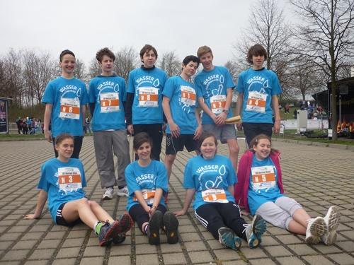 Die Schulstaffel der TUEV-Rheinland Mittelschule nahm erfolgreich am 37. Leipzig Marathon teil